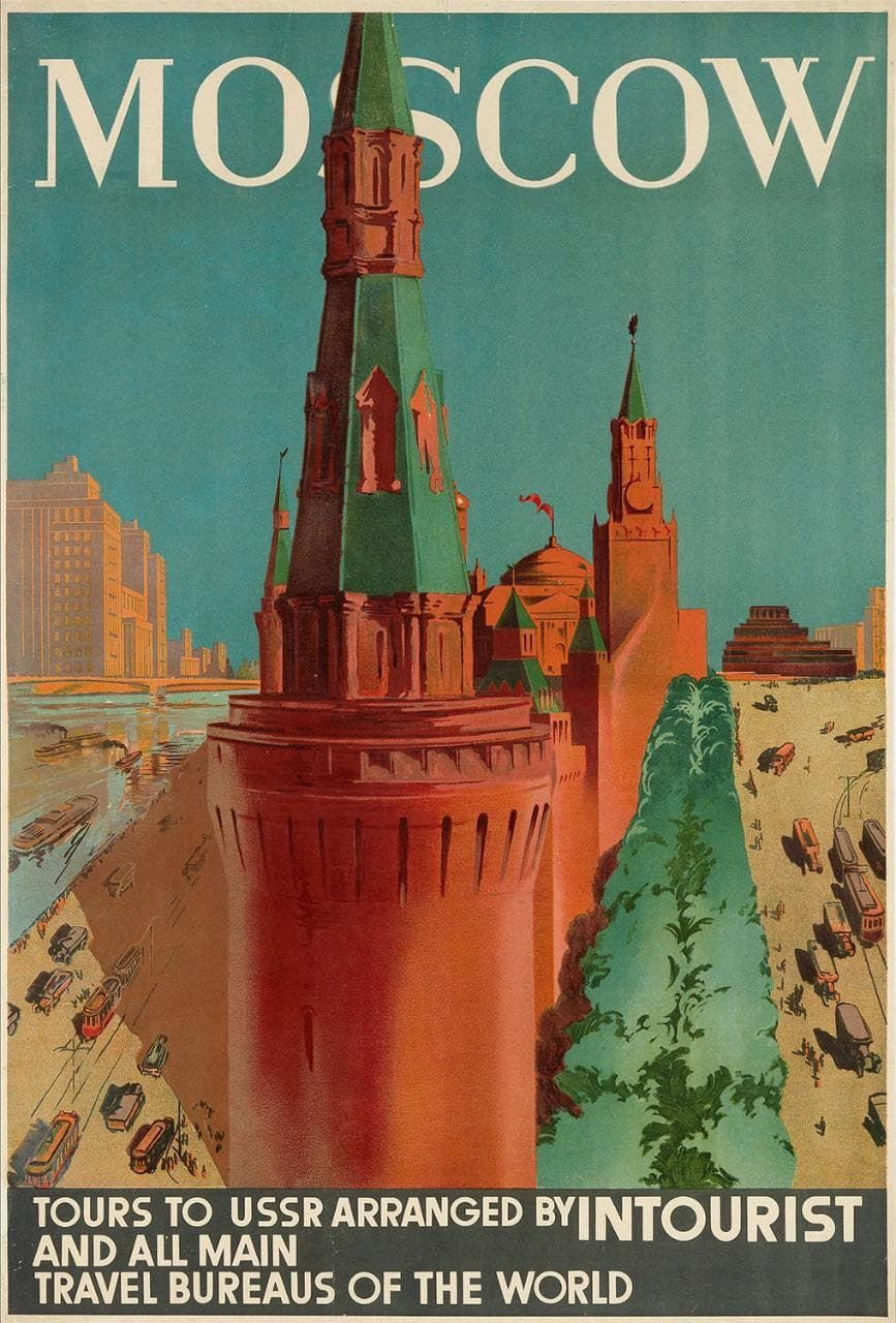 Vintage Soviet Era Moscow Travel Poster A3//A4 Print
