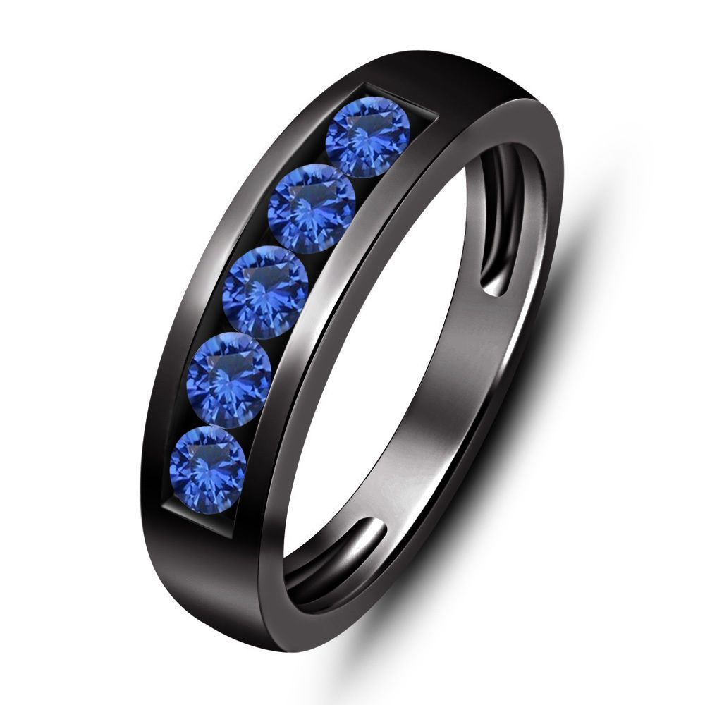 Blue Sapphire 5 Stone 1 00 ct tw Men s Wedding Band Ring in 14K Black Gol