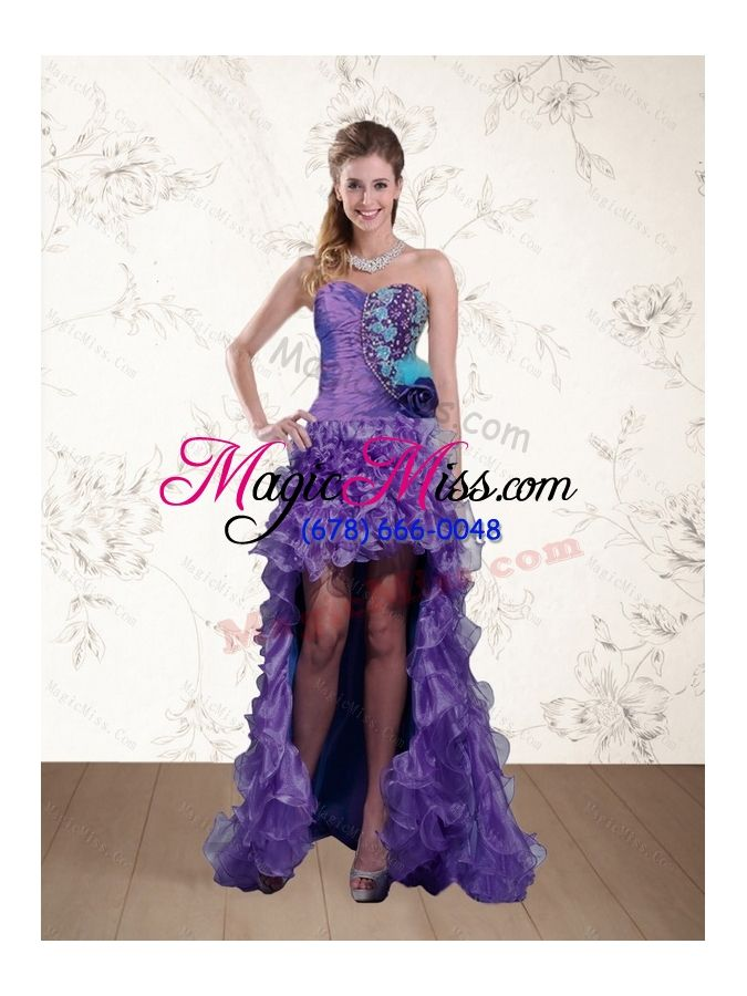 wholesale cute strapless multi color prom dress with beading and hand made flower