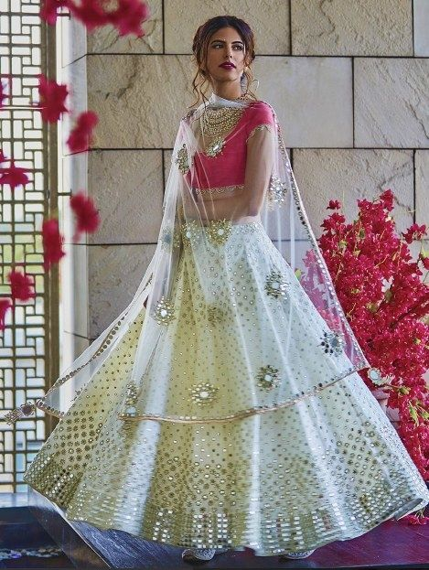 One of my all time favourite white pink mirrored lehenga by Abhinav Mishra #Frugal2Fab