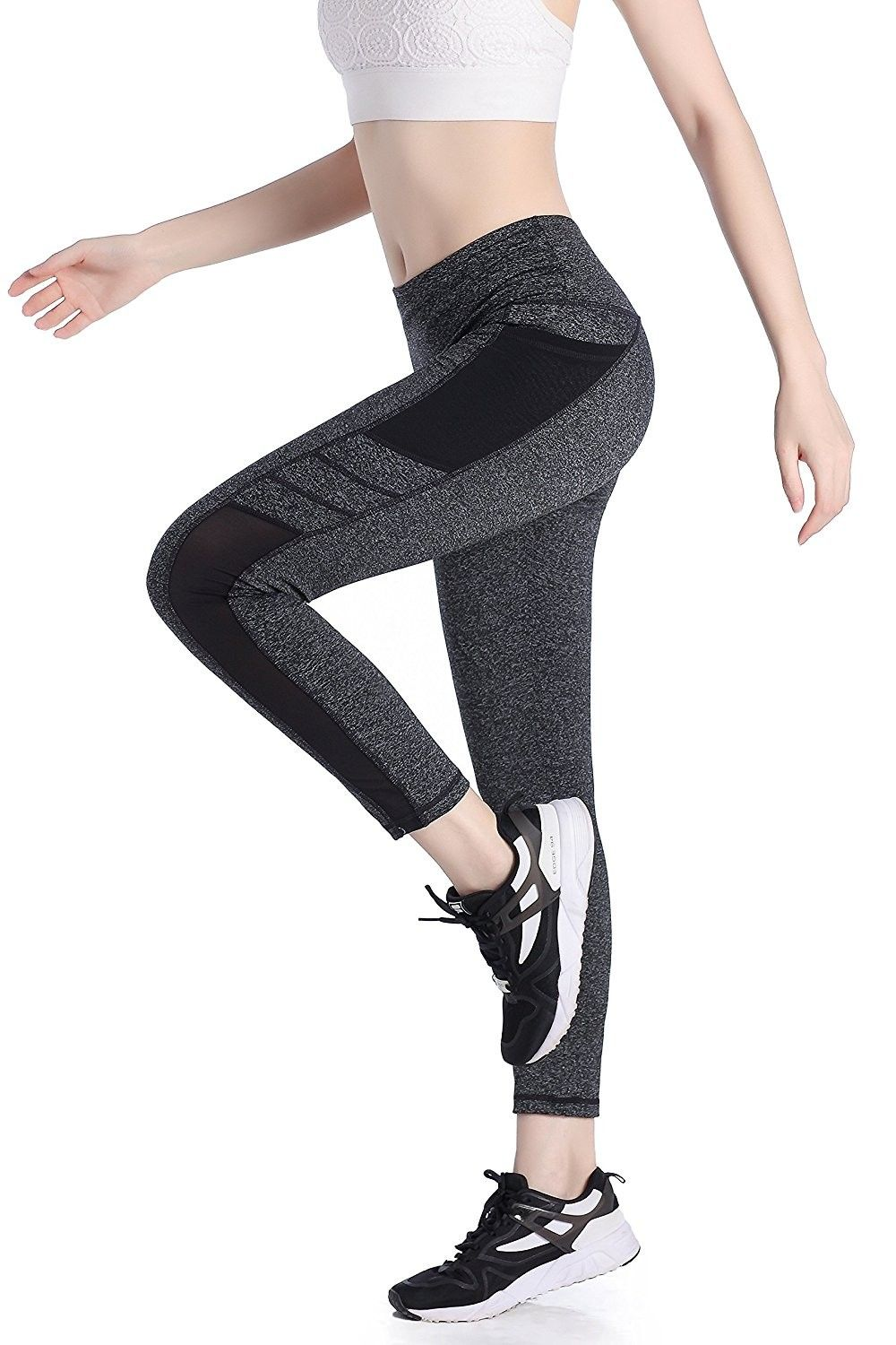 ef8fe0865621fe Women's Mesh Yoga Pants Sports Tights Workout Running Fitness Pants Yoga  Leggings With Side Pocket - Grey - C1187TCAYUO,Women's Clothing, Active, ...