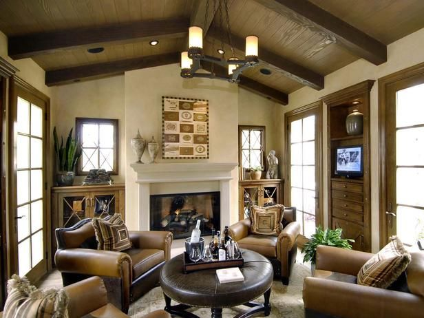 Warm, Inviting Living Room: A Beautiful Fireplace And Fully Beamed  Cathedral Ceiling Warm