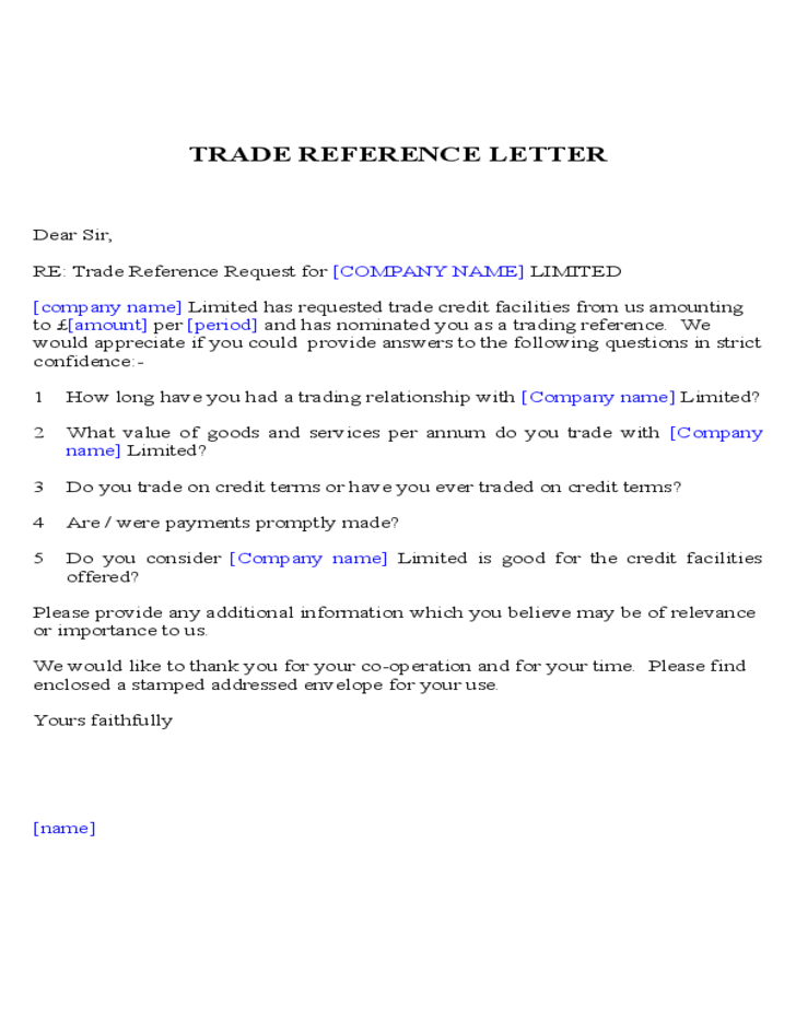 trade reference template 9  | Templates | Letter sample, Reference