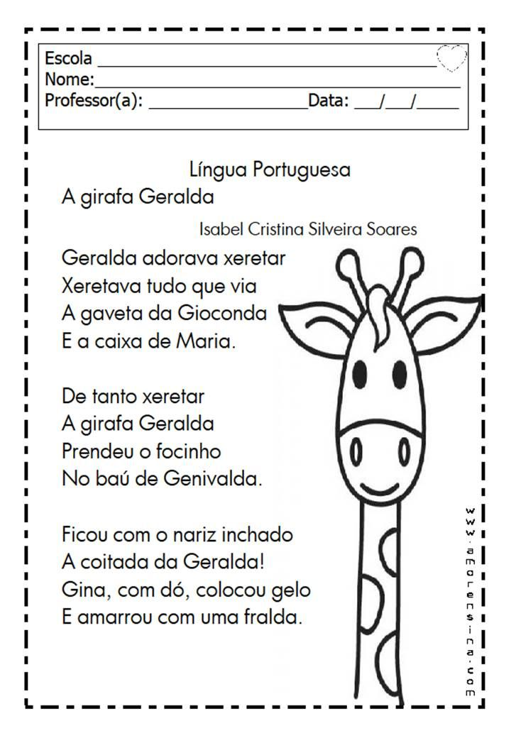 Alfabetizar Com Amor A Girafa Geralda Trabalhando Ge Gi 1º