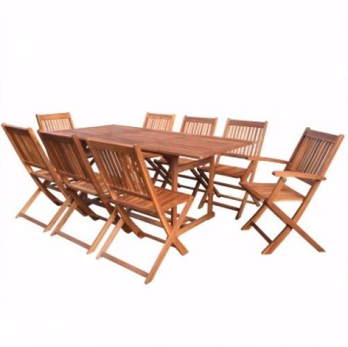 8 Seater Garden Furniture Set Wooden Table and Chairs Patio Outdoor Dining Sets