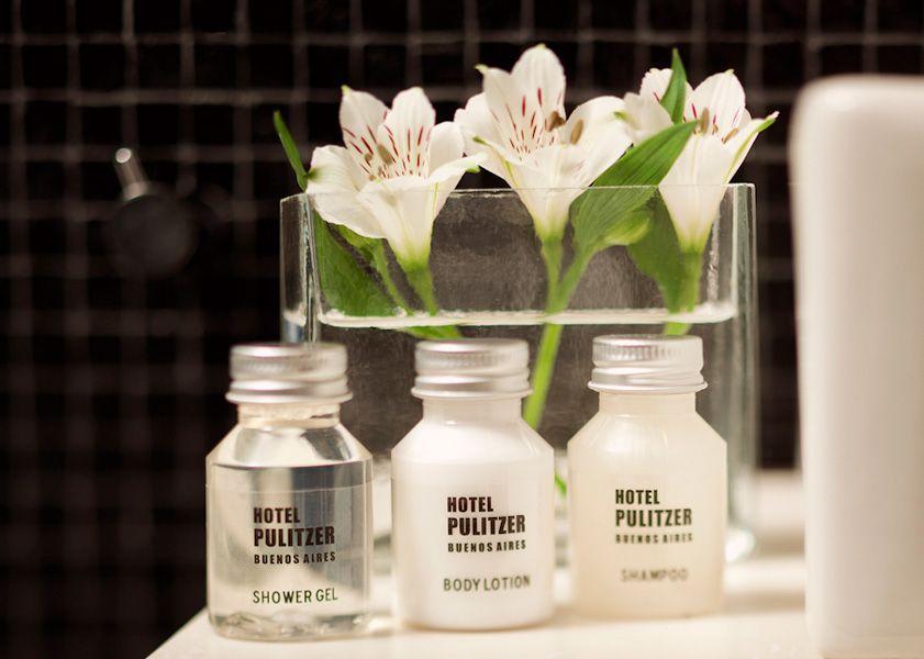 Fresh flowers in a hotel bathroom
