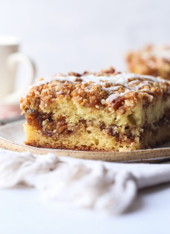 This Pecan Sour Cream Coffee Cake Is An Ultra Moist Cake With A Delicious Cinnamon Pecan Streusel In 2020 Sour Cream Coffee Cake Coffee Cake Recipes Pecan Coffee Cake