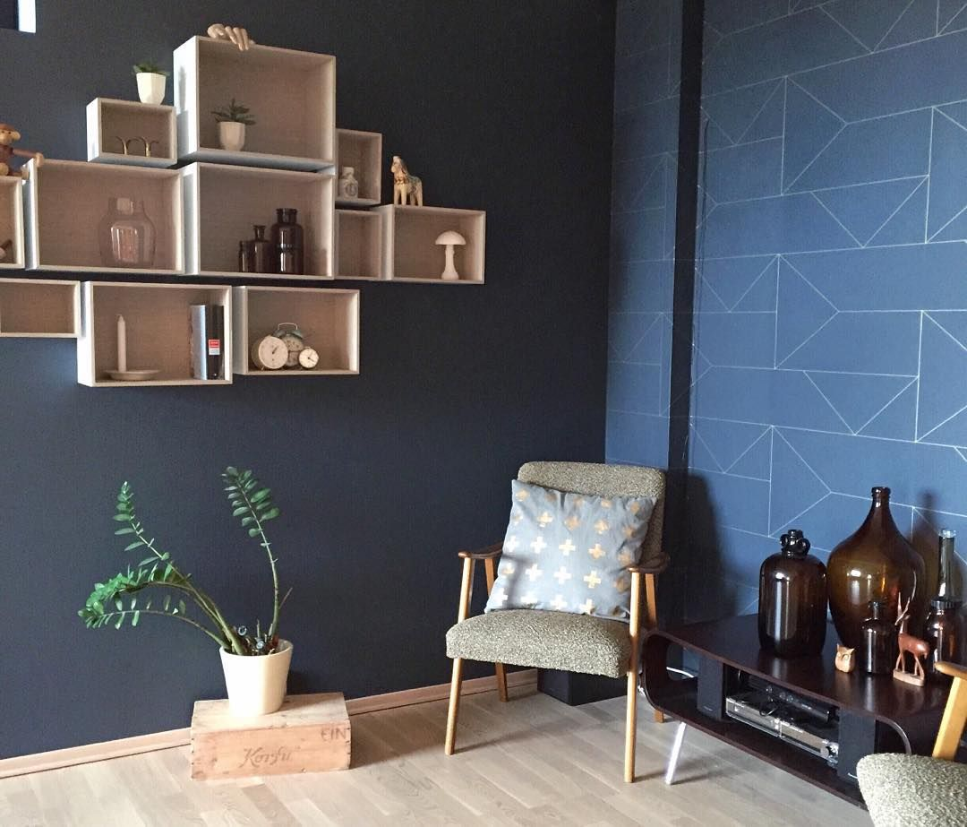 Love this dark reading corner finished with Ferm Living Lines in dark blue   so sophisticated http www fermliving com webshop shop lines wallpaper dark blue  . Ferm Living Shelf Brackets. Home Design Ideas