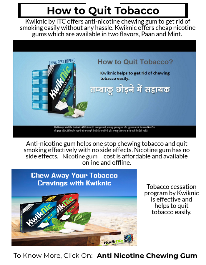 kwiknic by itc offer anti nicotine chewing gum to get rid of smoking