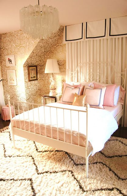 30 bedrooms for teen girls the curtains have a little extra to them love the rug need to. Black Bedroom Furniture Sets. Home Design Ideas
