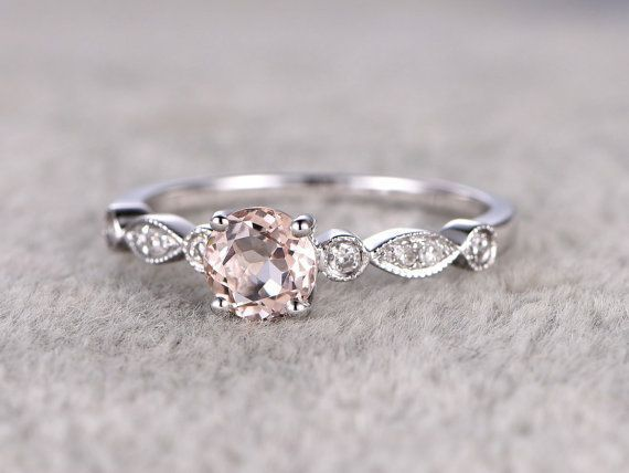 Morganite Engagement Ring White Gold Diamond Wedding Band 14k  #diamond #engagement #morganite #wedding #white