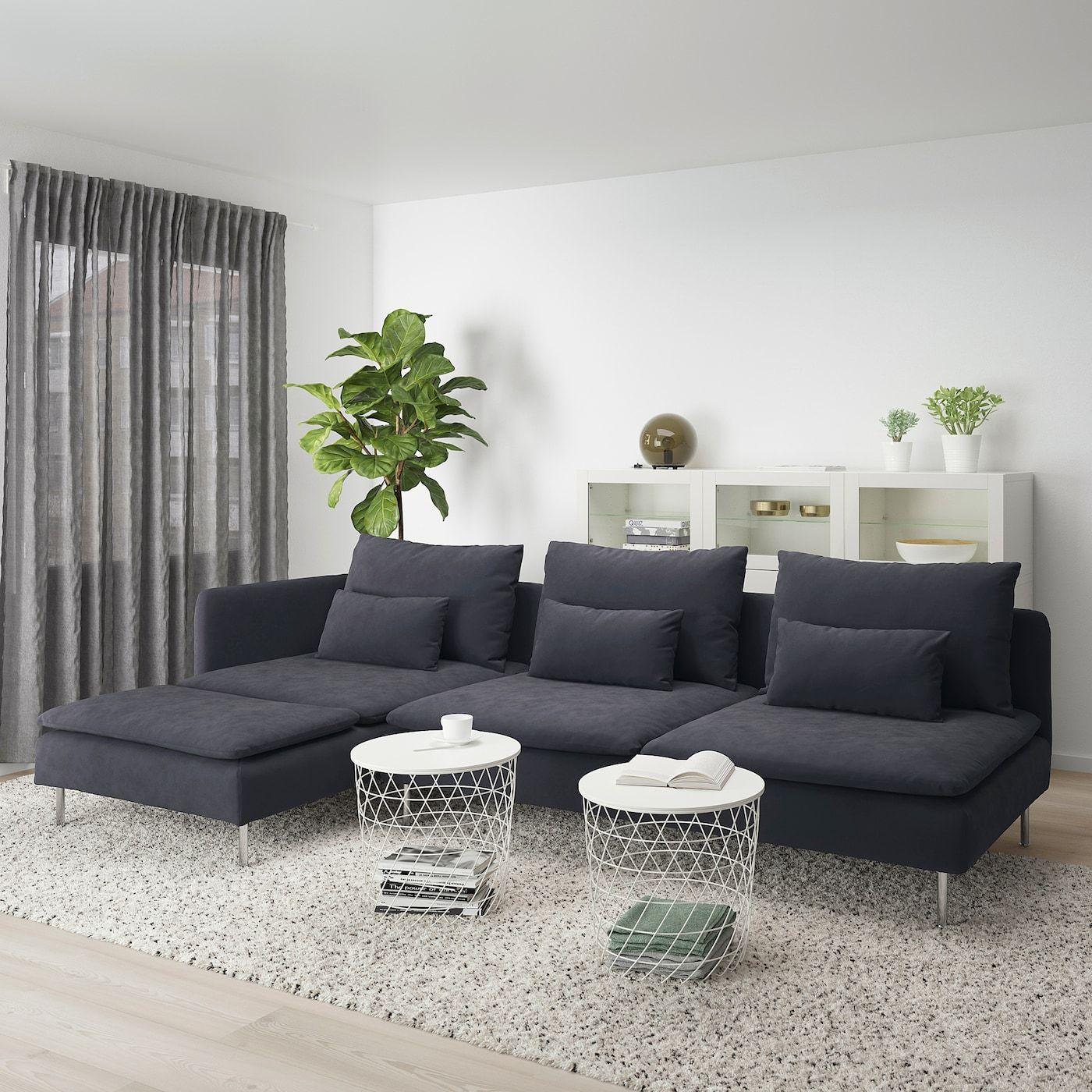 Soderhamn 4er Sofa Mit Recamiere Offenes Ende Samsta Dunkelgrau Ikea Deutschland Dark Grey Couch Living Room Comfortable Sofa Ikea Couch