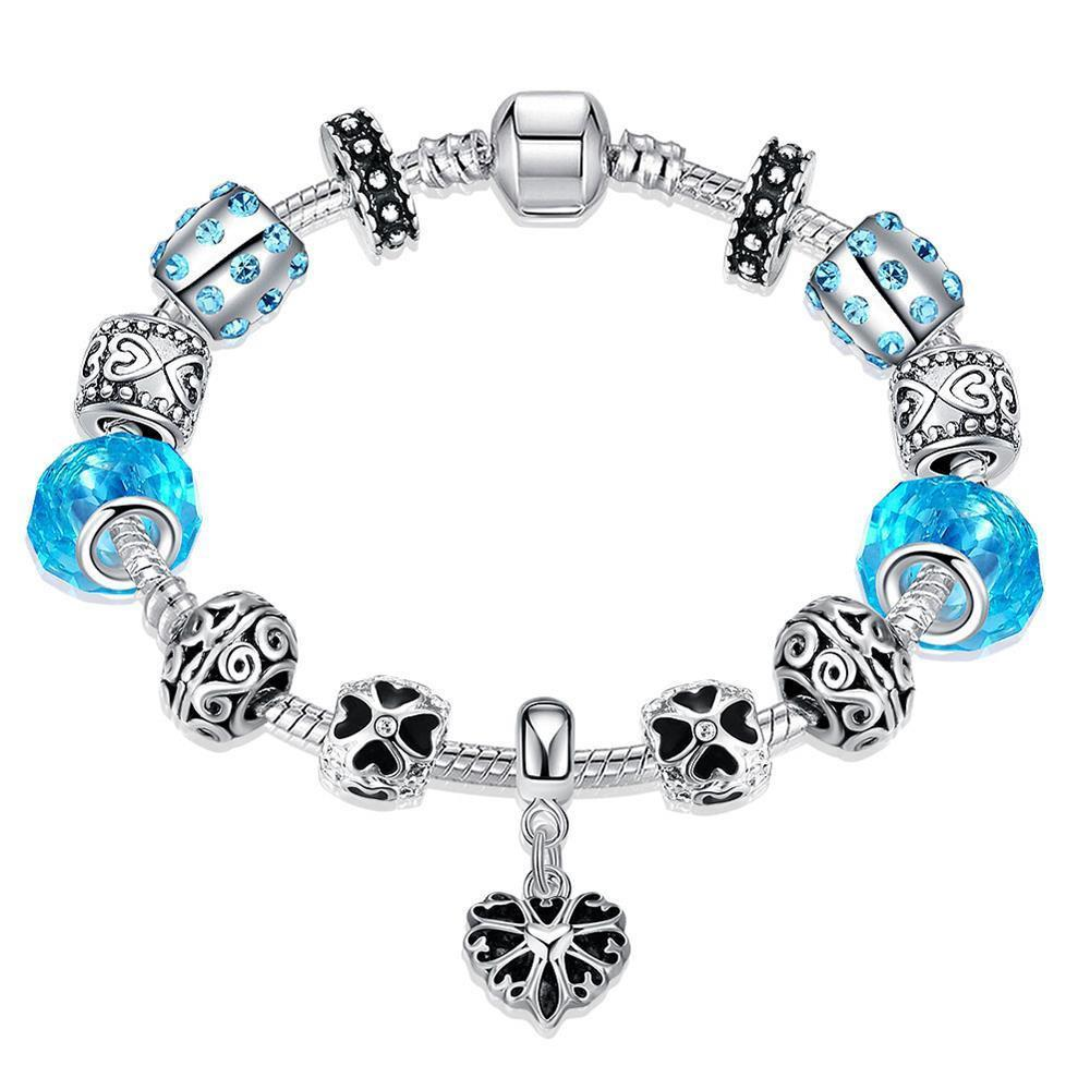 Aquamarine Crystal Heart Pandora