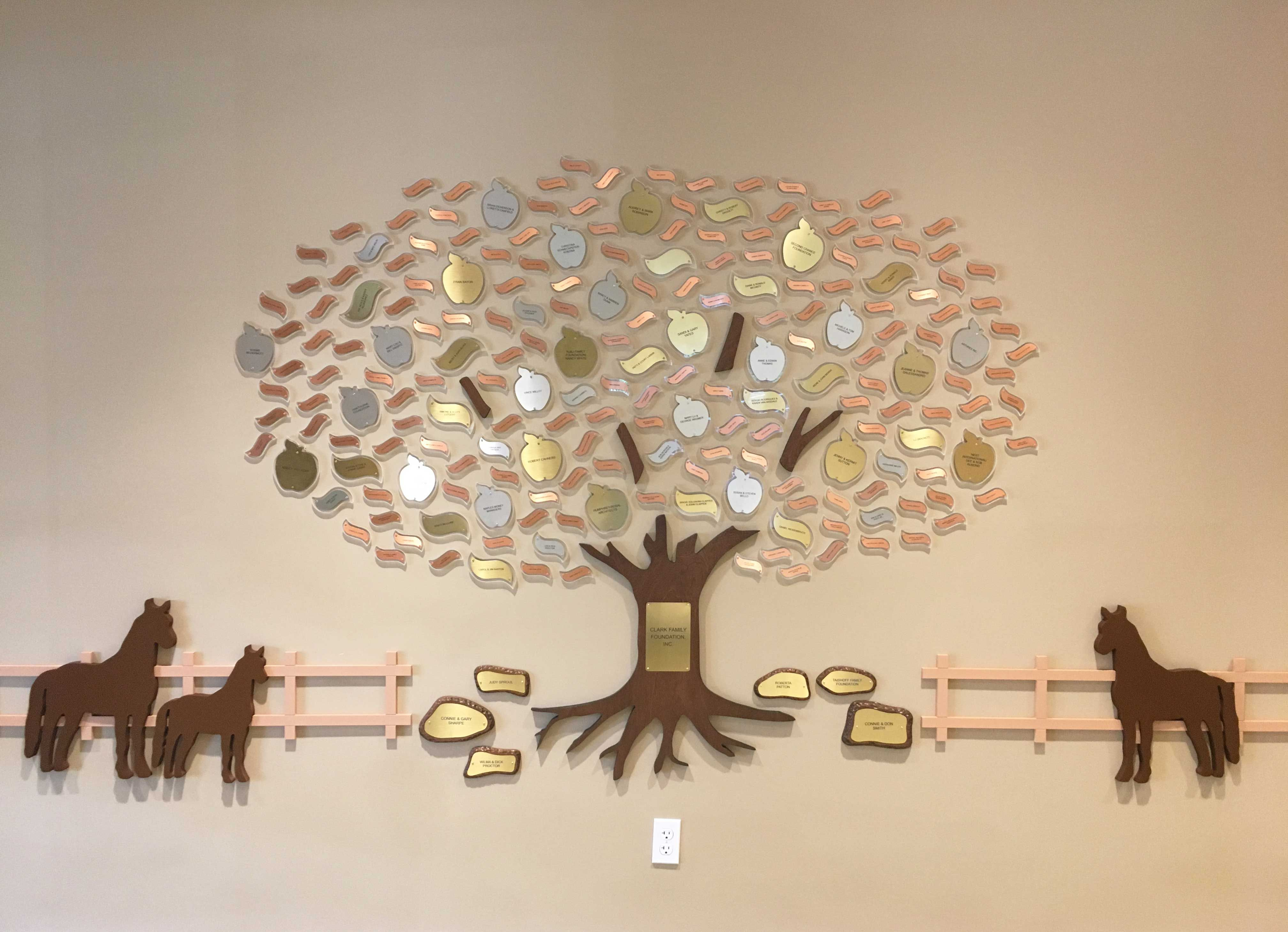 Farm Naples Therapeutic Riding Center Naples Fl 151 1 X 3 Copper 9 1 1 2 X 3 1 2 Aluminum And 16 2 X 4 Brass Leaves Donor Tree Tree Designs Tree