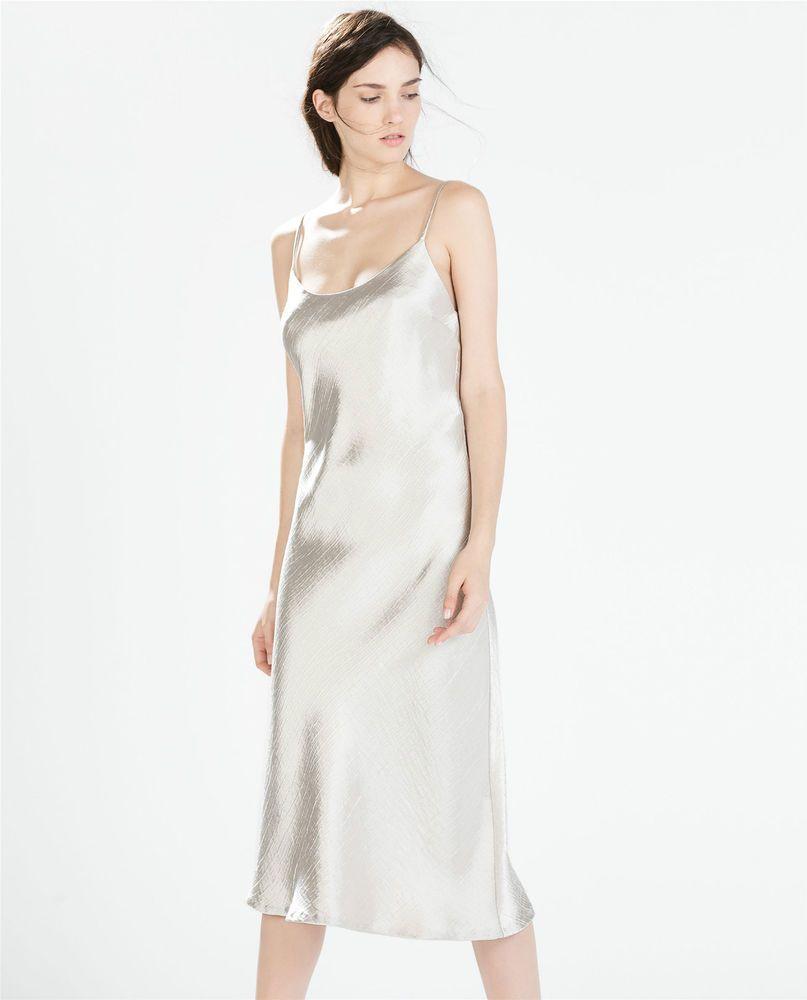 e1108c78 ZARA Woman BNWT Shiny Silver Oyster Studio Slip Dress Spaghetti Strap XL  7952606
