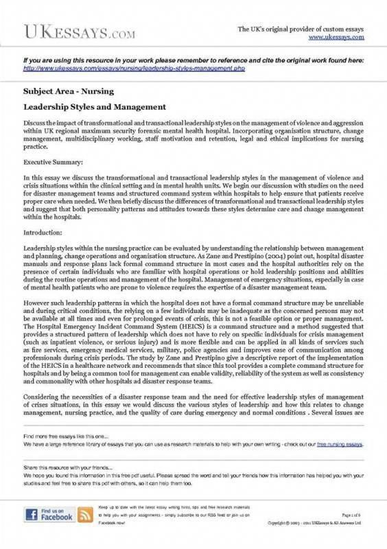 Leadership Skills In Nursing Essay