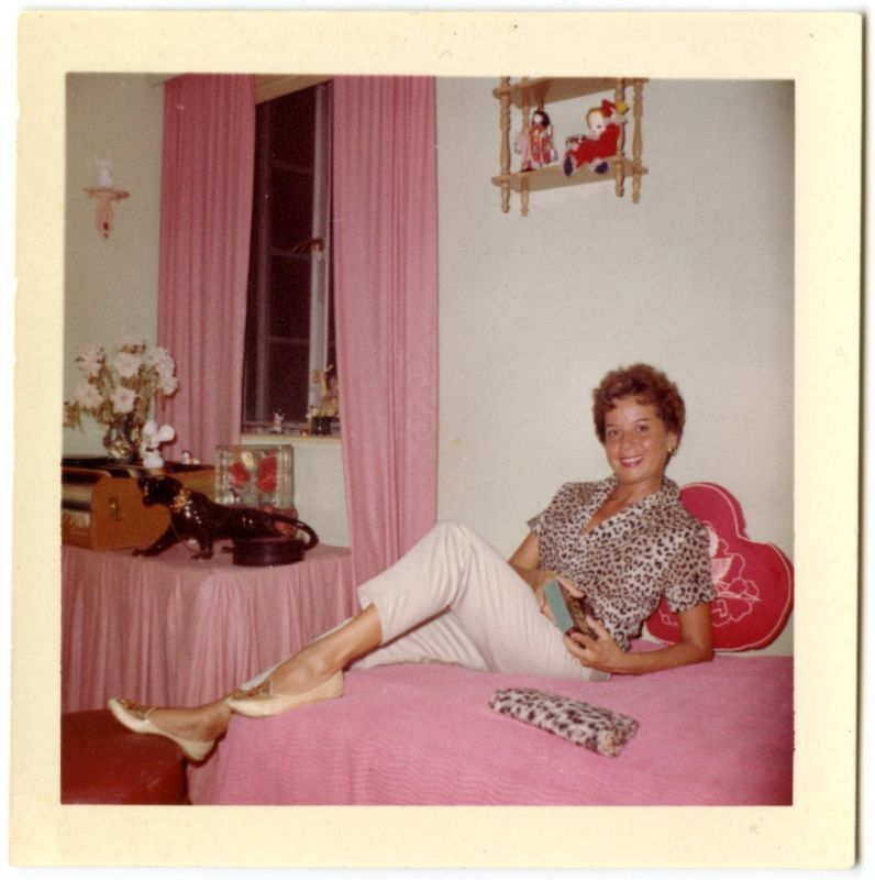 1960S Found Photo Woman In Bedroom Pink Curtains Bedspread -4129