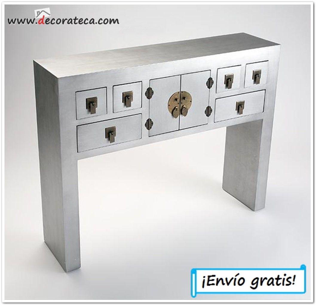 Consola de madera gris \