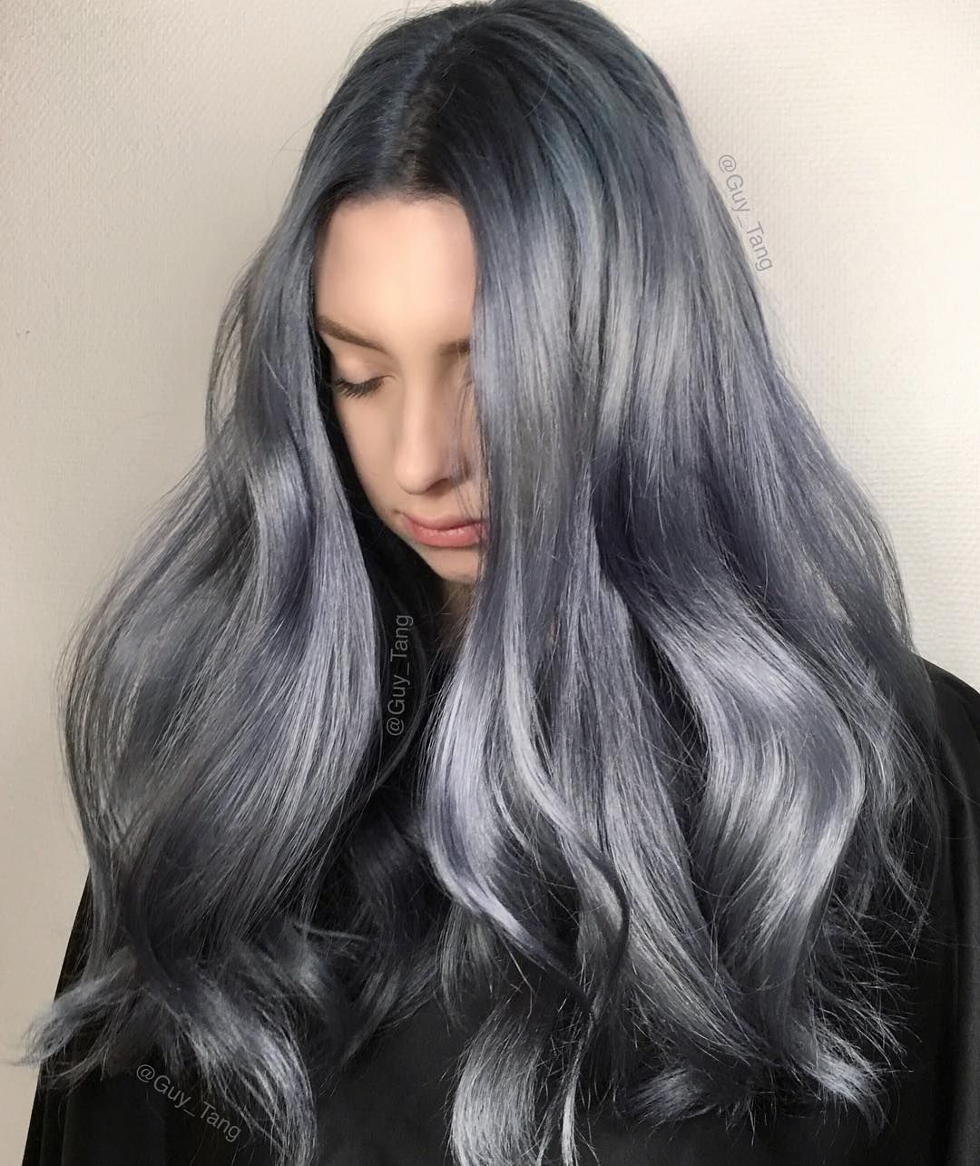metallic denim hair color by guy tang silver hair color. Black Bedroom Furniture Sets. Home Design Ideas