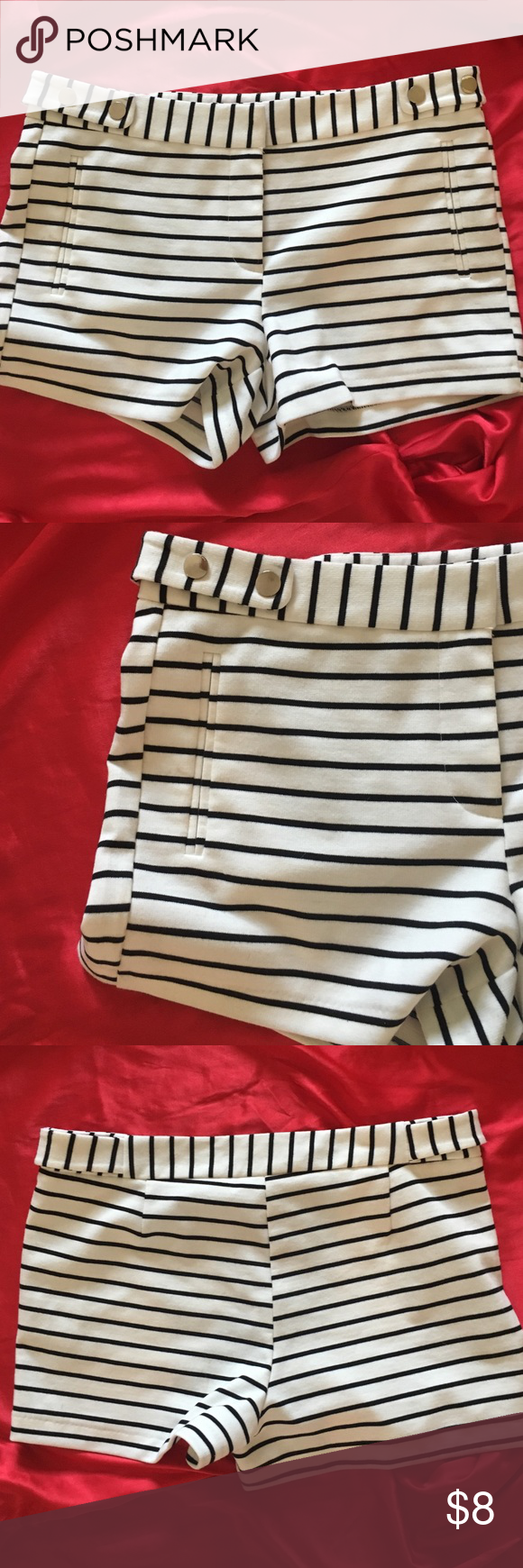 B&W Striped Shorts Adorable black and white striped shorts. No flaws! Bundle for great deals  Shorts