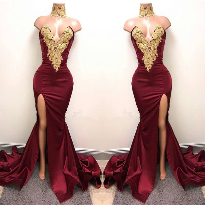 f9a470346c6 Sexy Mermaid Front-Split Lace High Neck Burgundy Prom Dresses Gold Prom  Dresses
