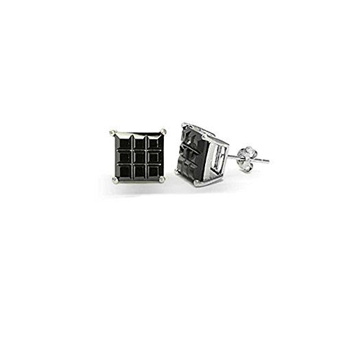 2b28b1683 Bling Jewelry Mens Black CZ Square Invisible Cut Stud Earrings 5mm 925  Sterling…