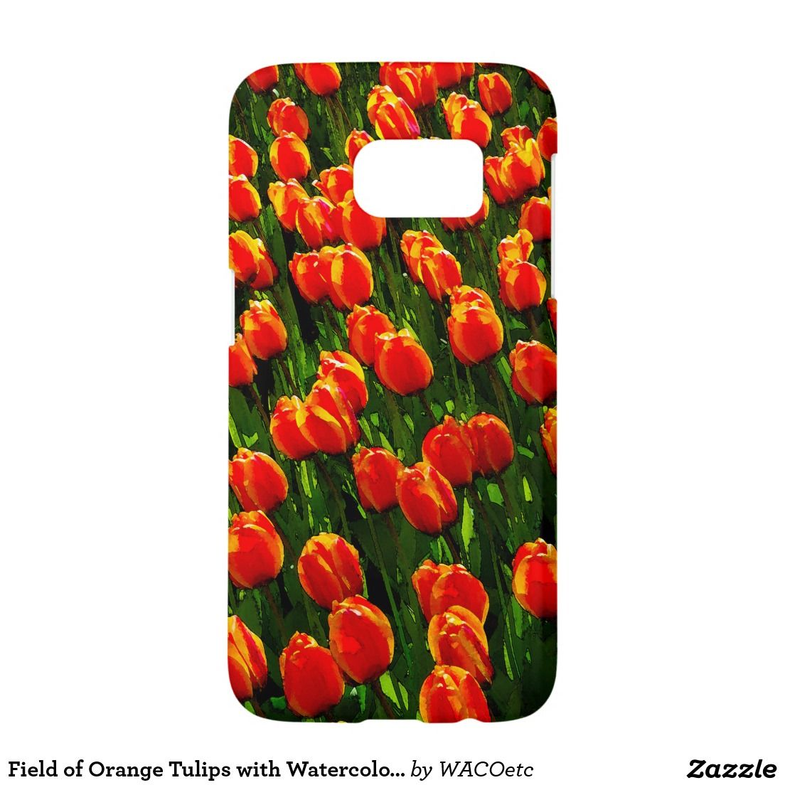 Field of Orange Tulips with Watercolors Samsung Galaxy S7 Case