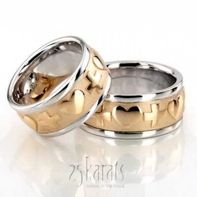 gold cross heart christian wedding ring set - Christian Wedding Rings
