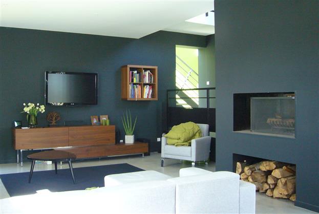 mur salon bleu pétrole, cheminée | deco en 2018 | Pinterest | Salon ...