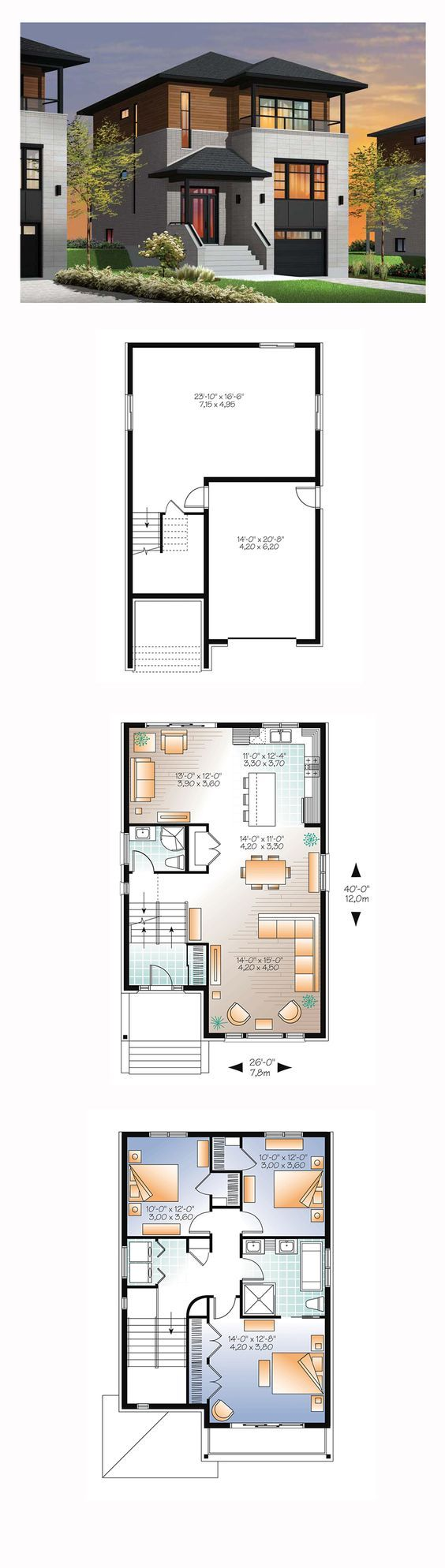Modern House Plan 76362 | Total Living Area: 1883 sq. ft., 3 bedrooms and 2 bathrooms. #modernhome: