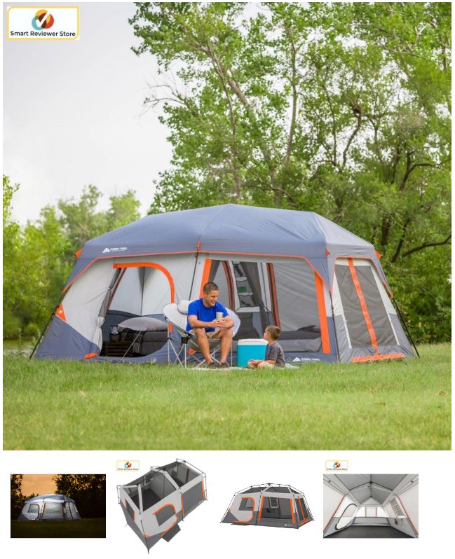 The Ozark Trail 10 Person Cabin Tent With Built In Lights Is A Spacious Cabin Style Tent This 10 Person Instant Tent Require Tent Tent Camping Outdoor Picnics