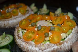 Mushroom Bread with Avocado, nuts, tomatoes, and capers! YUM
