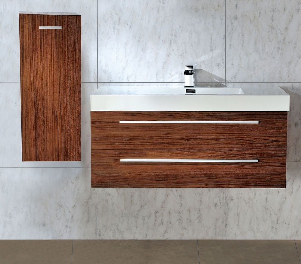 shades bathroom furniture uk%0A      mm WALL HUNG WALNUT BATHROOM BASIN SINK VANITY   SIDE CABINET   OPTIONAL
