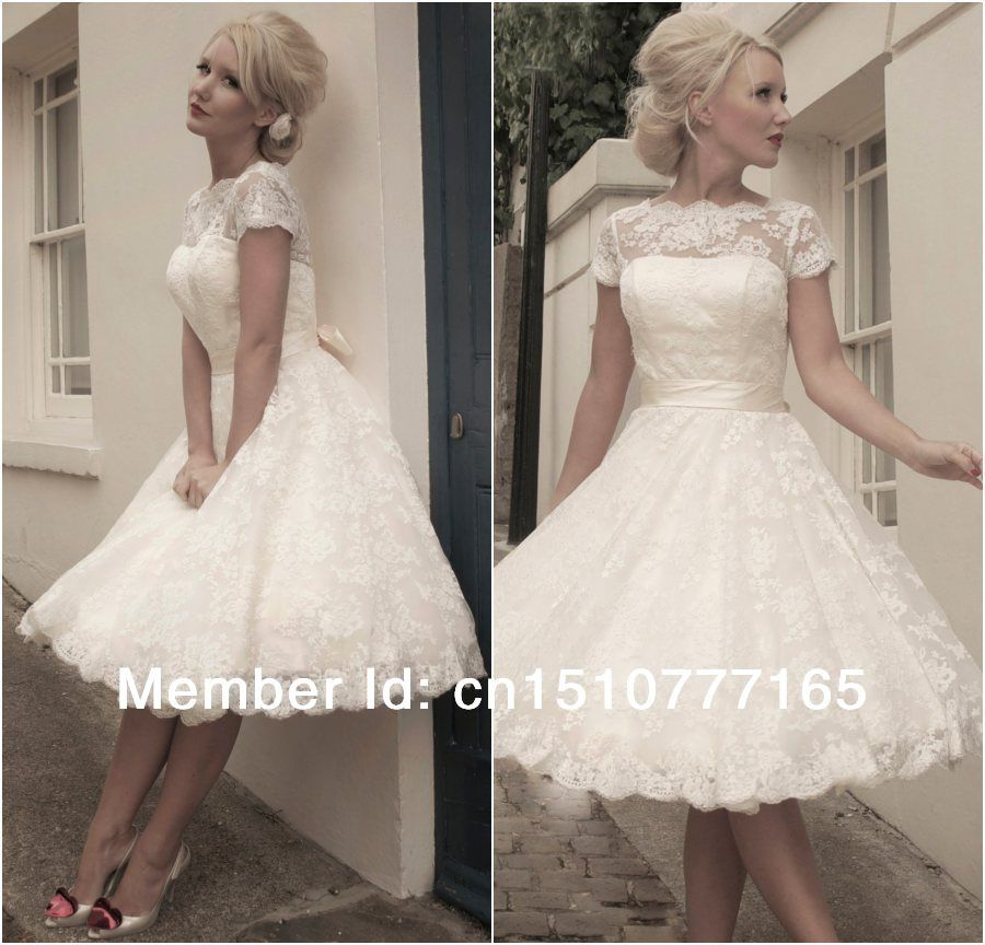 Jacqueline Vintage Lace Short Wedding Dress Dresses