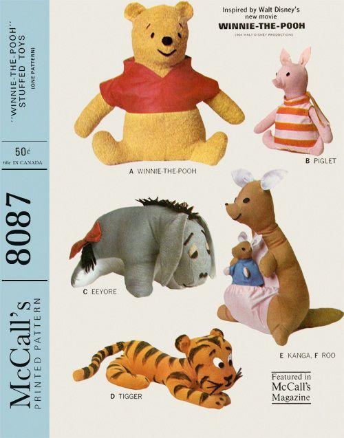 Vintage 1965 McCall\'s 8087 Winnie The Pooh Eeyore Stuffed Animal ...