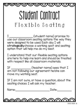 Flexible Seating Freebie  Parent Letter  Student Contract