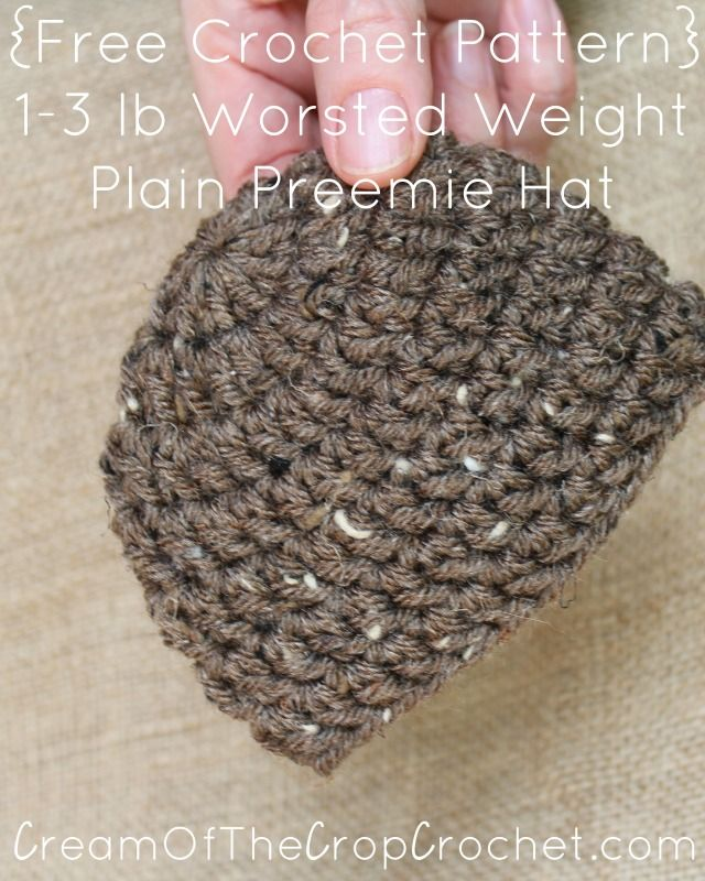 Cream Of The Crop Crochet ~ 1-3 lb Worsted Weight Plain Preemie Hat ...