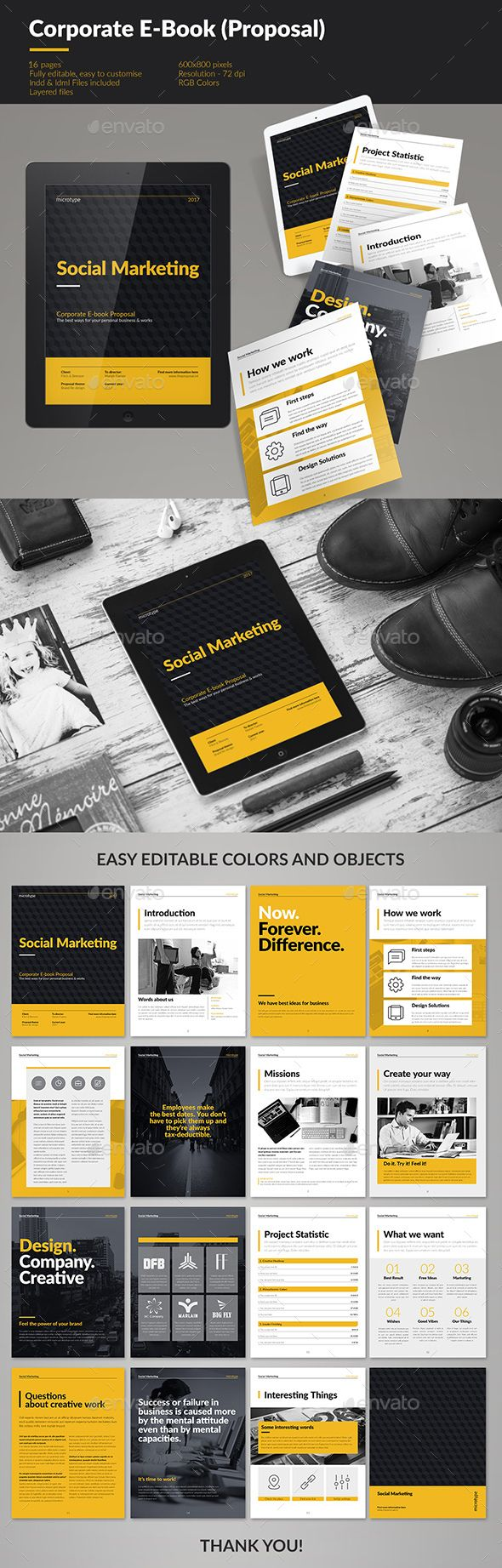 Corporate E-book Template   Template, Layouts and Brochures