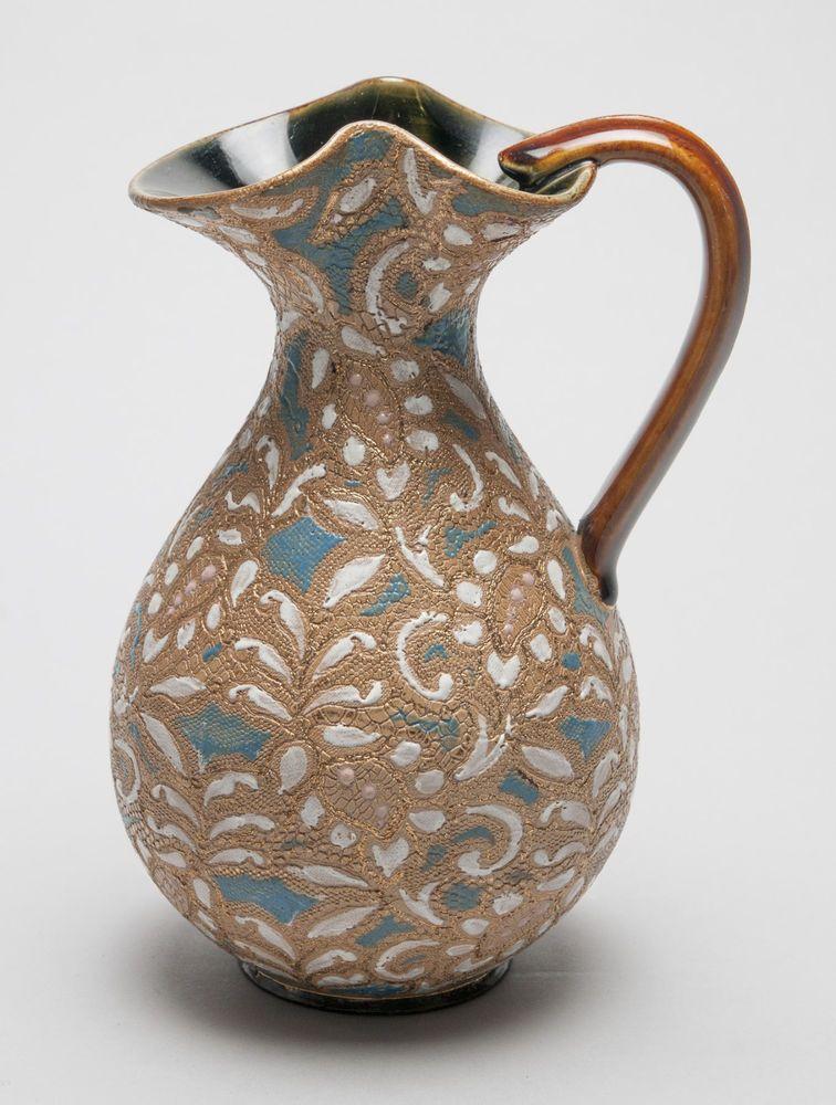 Antique Royal Doulton Lambeth Slaters Patent Stoneware Jug Vase With
