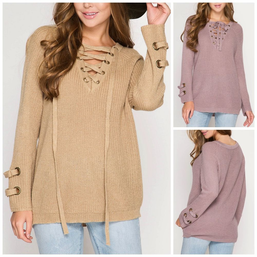 She   Sky Lace Up Neck Long Sleeve Cozy Pullover Sweater Taupe ...