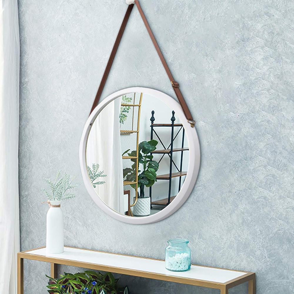 Zri Bamboo Wandspiegel Rund Flur Spiegel Badspiegel Mit Verstellbarer Ledergurtel 38cm Braun 38 Cm Amazon De Kuche In 2020 Badspiegel Wandspiegel Rund Wandspiegel