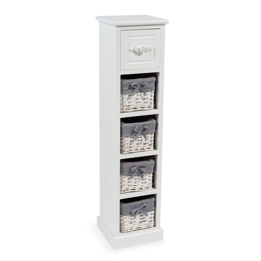 colonne de rangement 5 tiroirs blanche maisons du monde
