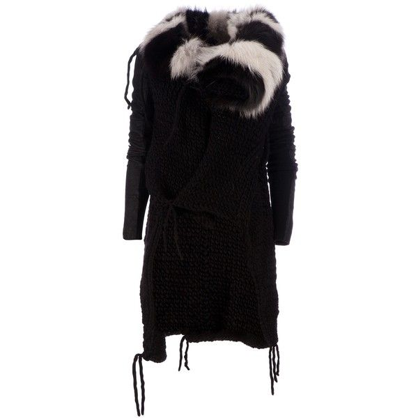 RICK OWENS knitted coat (4.839.400 CLP) ❤ liked on Polyvore featuring outerwear, coats, rick owens, leather-sleeve coats and rick owens coat