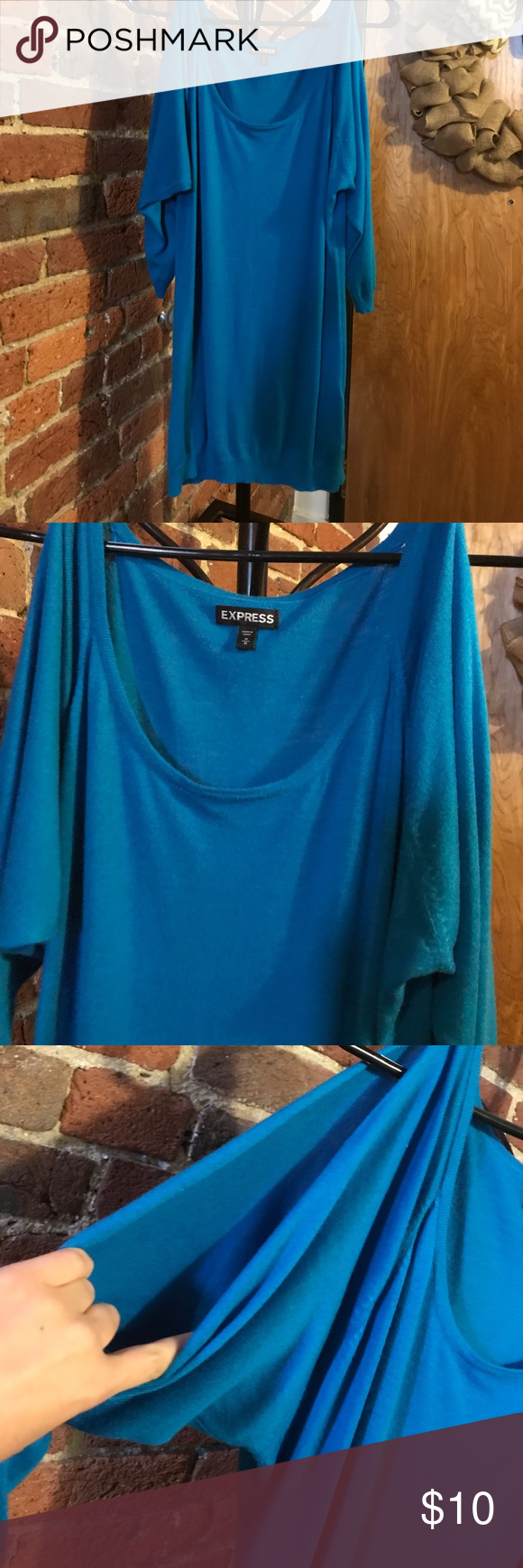 Express keyhole arm shirt Gently worn, no beading, keyhole arms, longer in length, made from rayon, nylon, polyester, and cashmere, super soft! Express Tops Tees - Short Sleeve