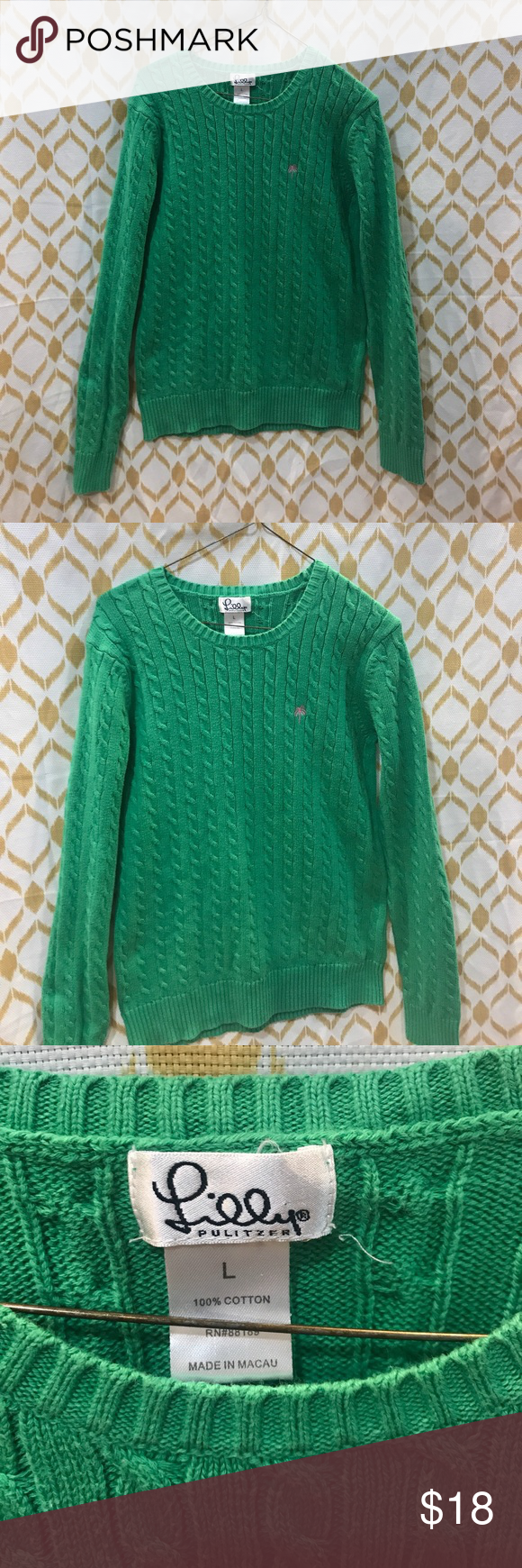 Lilly Pulitzer crew neck cable knit sweater Large | Cable knit ...