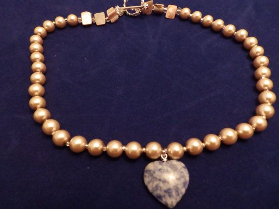Champagne Pearls with a Sodalite Stone Heart by TheJewelryCabinet, $22.50