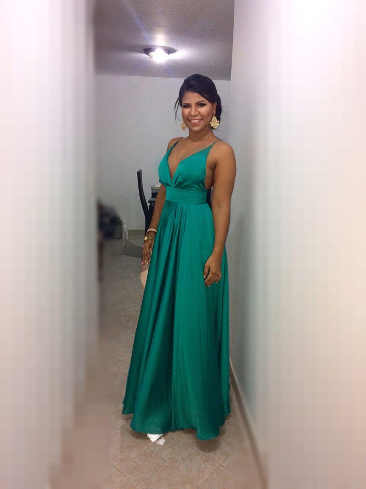 Green emerald long dress, long gown for wedding guest - Big gold ...