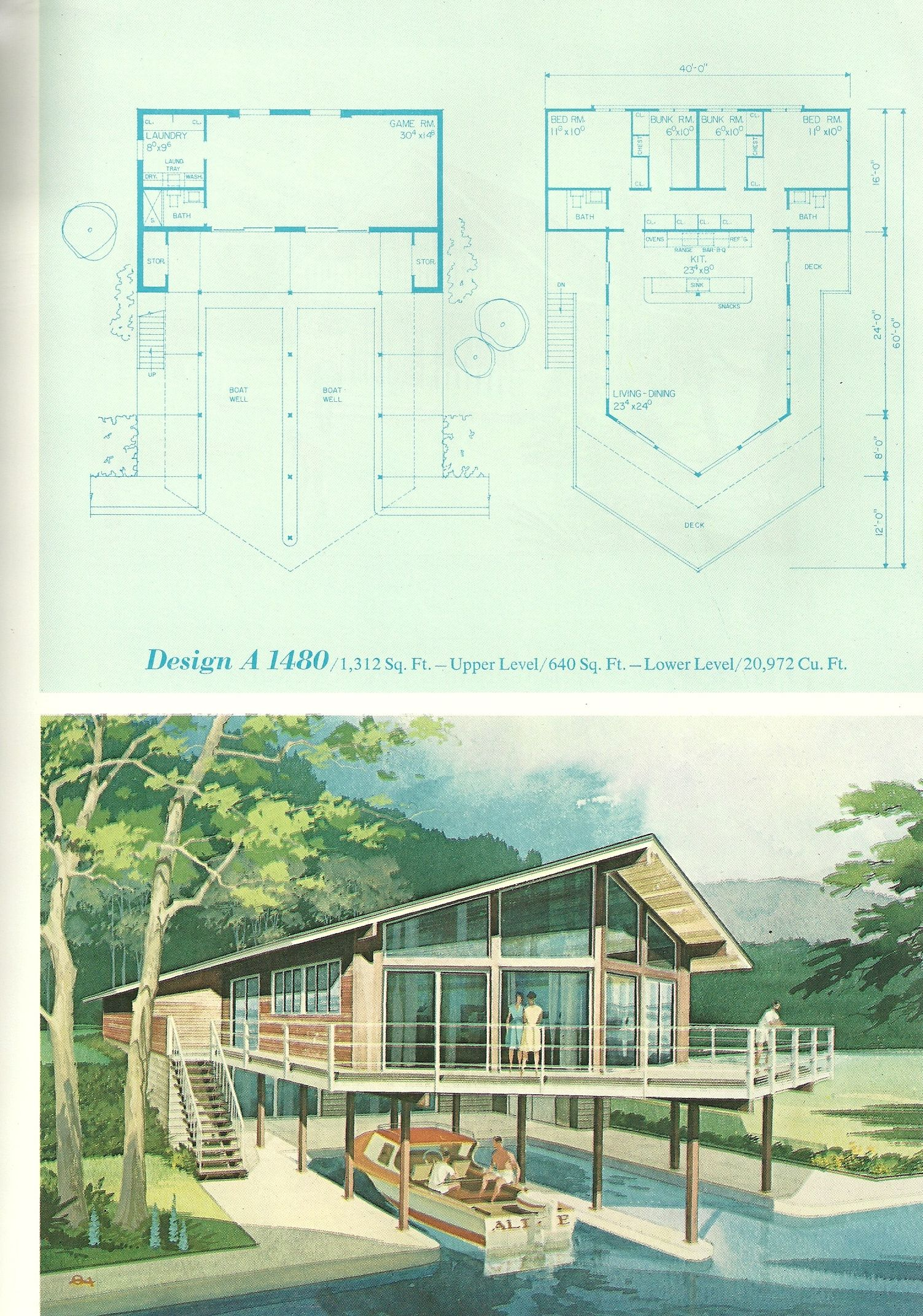 Vintage Vacation Home Plans 1480 (With images) | Vintage ...
