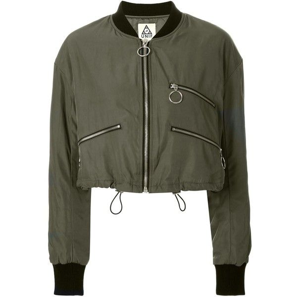 Unif Cropped Bomber Jacket (3.060 NOK) ❤ liked on Polyvore featuring outerwear, jackets, green, cropped jacket, blouson jacket, cropped bomber jacket, bomber style jacket and bomber jacket