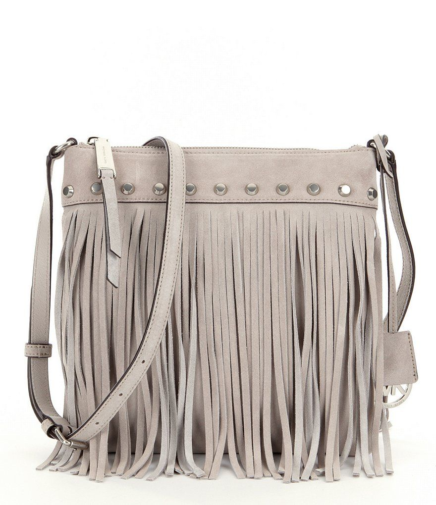 55e6a009ac Cement MICHAEL Michael Kors Billy Studded Suede Fringe Small Messenger Bag